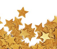 Scattered gold confetti stars - panorama